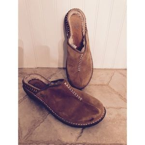 Ugg size 10 mules suede authentic sheepskin